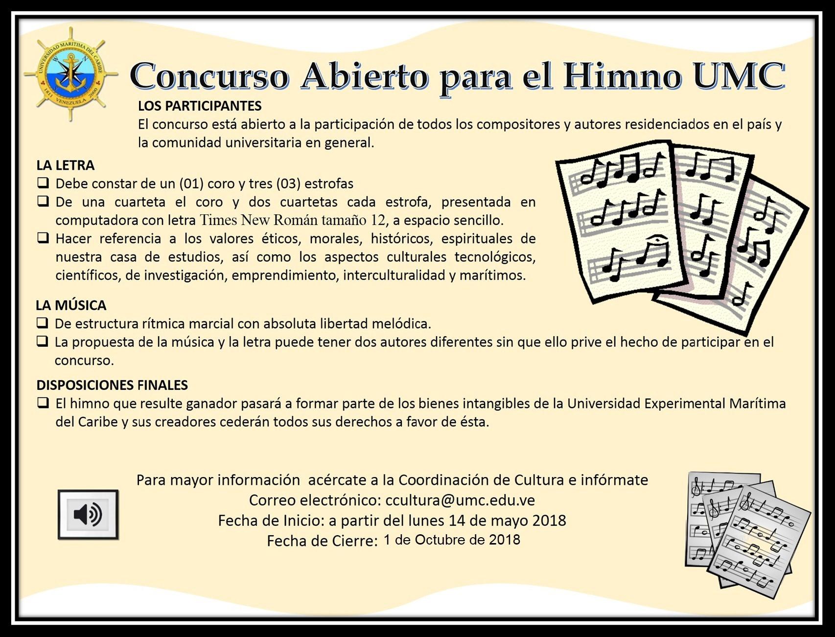 Concurso abierto para himno de la UMC